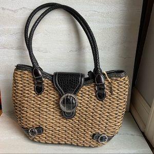 Brighton woven purse handbag brown black